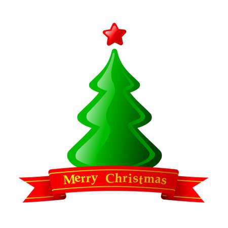 Green Christmas Fir Tree With Star Vector