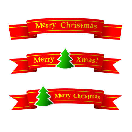 Red Christmas Ribbon With Fir Three Vector