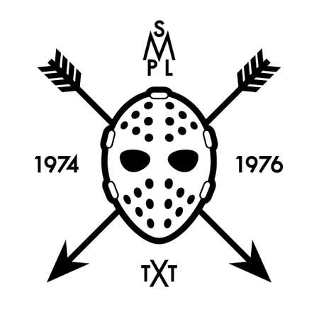 label with hockey mask and arrows Vector
