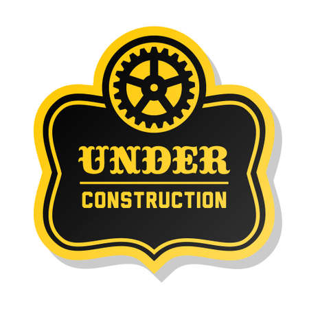 yellow label under construction with gear Stock Vector - 16576787