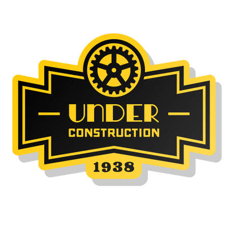 yellow label under construction with gear Stock Vector - 16576786