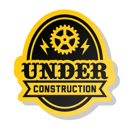 yellow label under construction with gear Stock Vector - 16576788