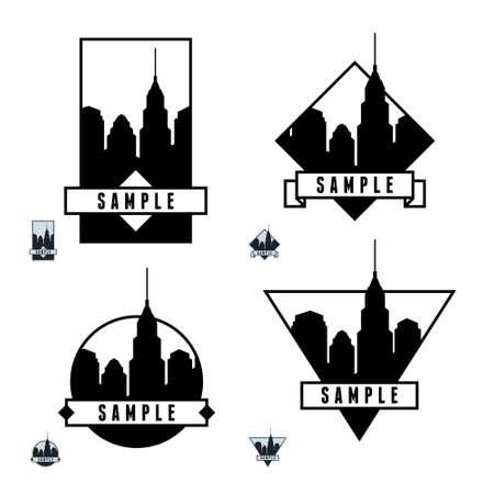 art deco design: monochrome geometric label with skyscraper