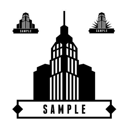 house clip art: monochrome geometric label with skyscraper