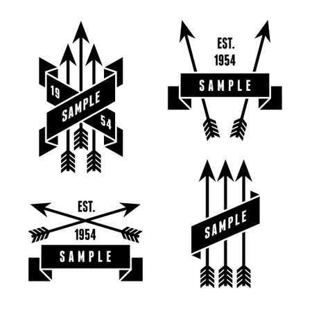brand tag: monochrome antique label with arrows Illustration
