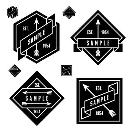 monochrome geometric label with arrow