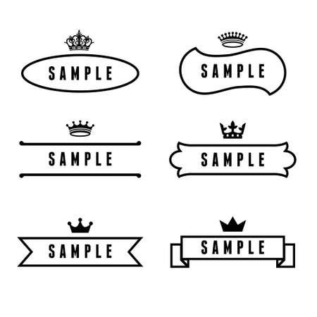 crown: monochrome antique label with crown