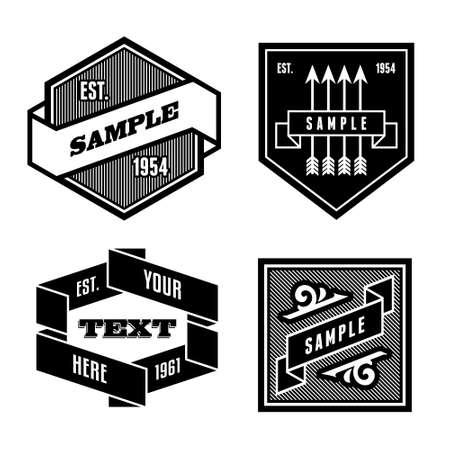 ruban noir: étiquette vintage monochrome rétro avec du ruban