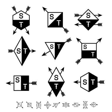 cuadrado, tri�ngulo, rombo etiqueta en blanco y negro con la flecha Foto de archivo - 17758482
