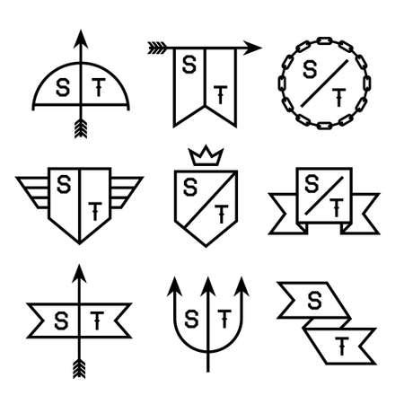 arco y flecha: etiqueta con la cadena, el escudo, la flecha, el tridente