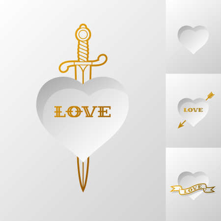 sword and heart: white valentines postcard with heart