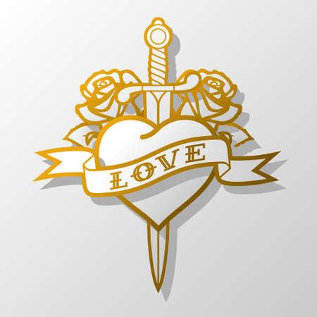 tatouage art: blanc valentines carte postale avec le coeur et le couteau