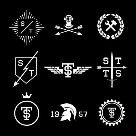 labels with helmet, shield, arrow, crown Ilustração