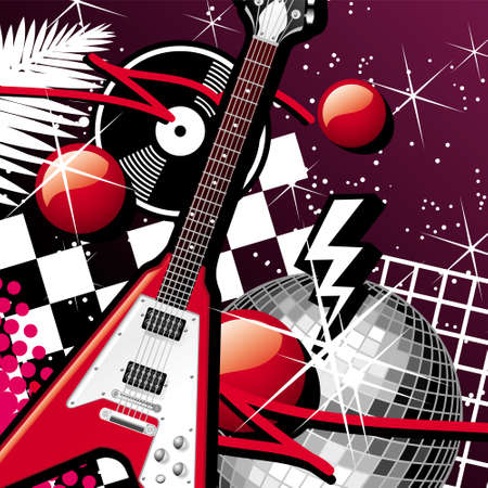 mirrorball: Guitar And Disco Ball Illustration
