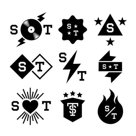 labels with  lightning, shield, vinyl, heart Vector