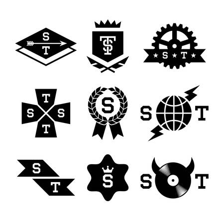 labels with gear, shield, arrow, vinyl Vector