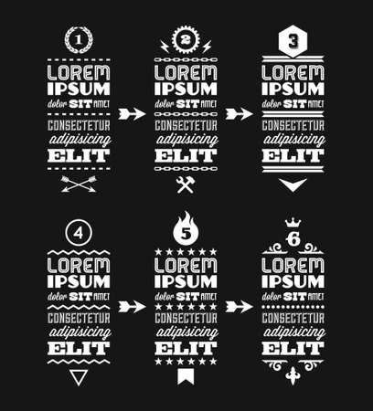 chaplet: vintage retro typographic infographics with gear, flame, crown