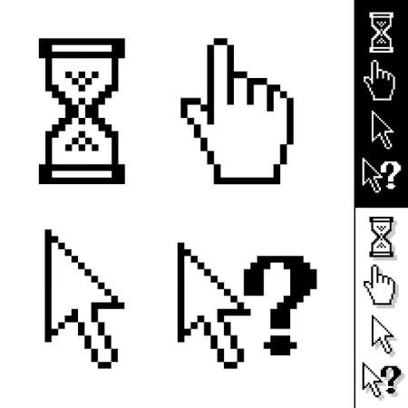 set of monochrome vector pixel cursors