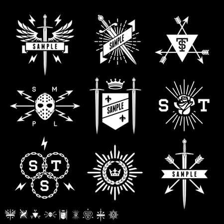 sword: vintage labels with shield, sword, arrow, crown