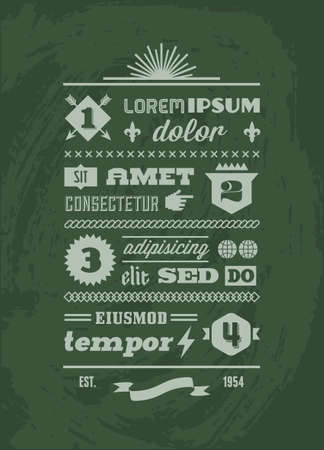 typography: vintage retro typographic infographics with shield, ribbon
