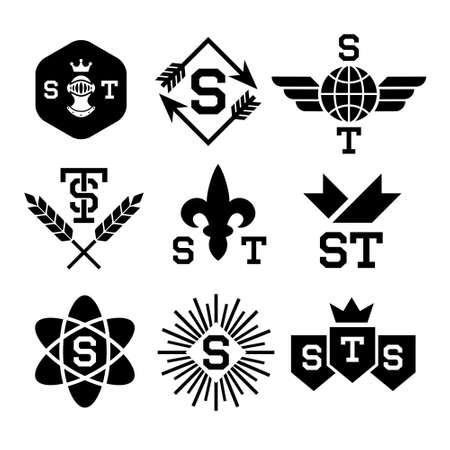 heraldic shield: emblems with helmet, shield, arrow, atom