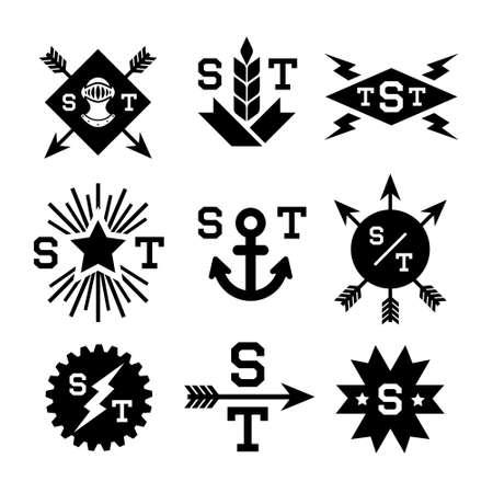 clip art: emblems with helmet, gear, arrow, lightning