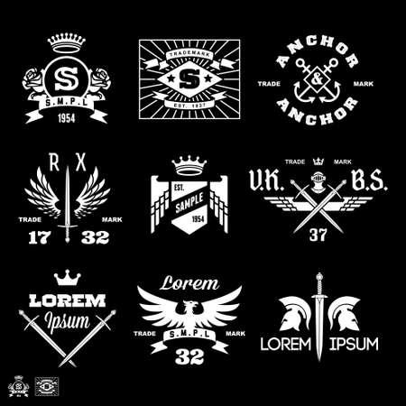 escudo de armas: etiquetas de la vendimia con el águila, ancla, rosa, corona