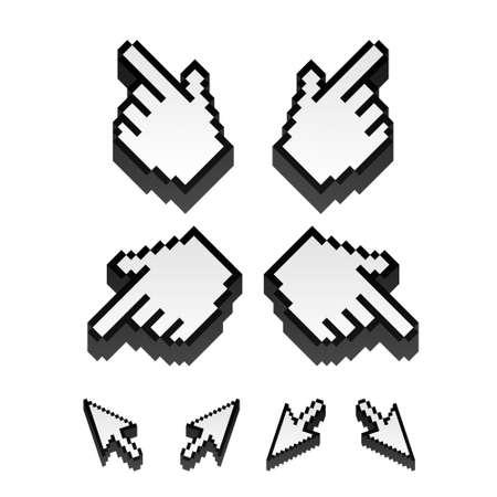 mouse pointer: set of monochrome  pixel cursors