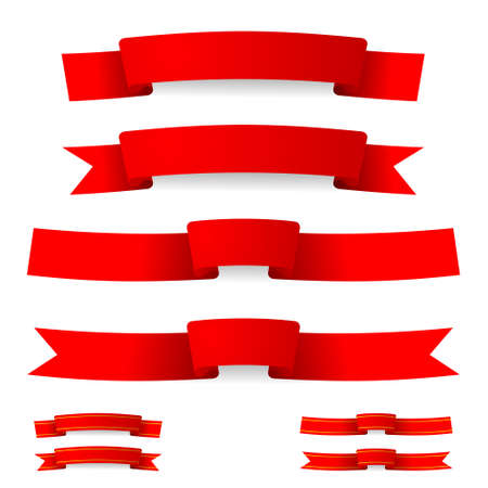 red ribbon with golden stripes Vector