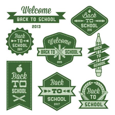 clip art: vintage label welcome back to school Illustration