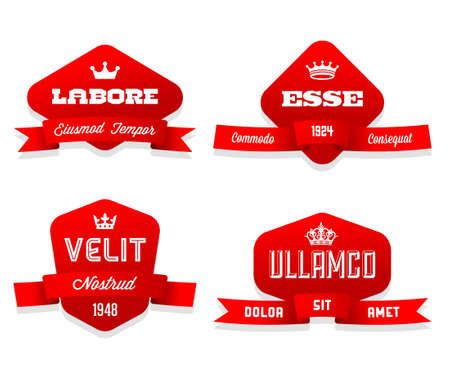 ribbon banner: red vintage geometric label with ribbon