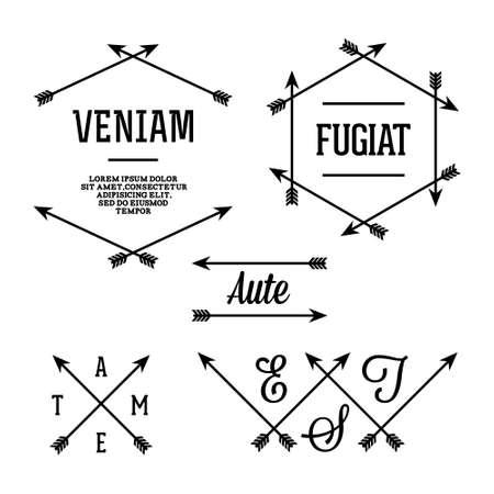cross tattoo symbol: simple geometric label with arrows Illustration