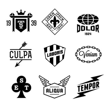vintage labels with shield, crown, arrow, wing Vector