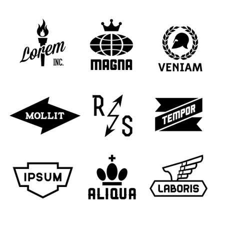 lightning arrow: vintage labels with globe, crown, torch, wing