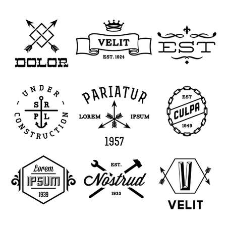 monogram: vintage labels with anchor, crown, arrow, hammer