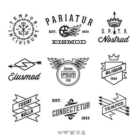vintage labels with anchor, crown, arrow, wing Ilustração
