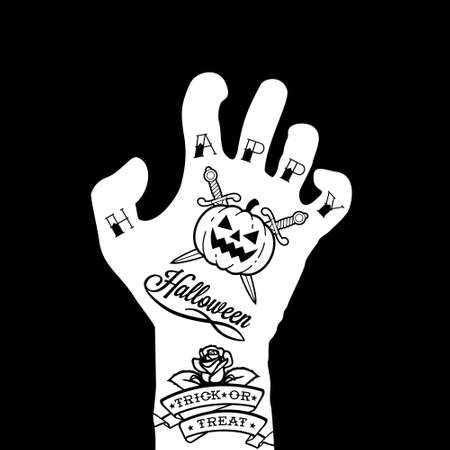 evil eyes: halloween hand with tattoo, pumpkin, rose Illustration
