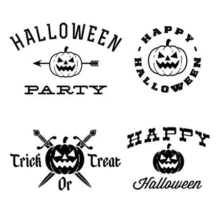 halloween labels with pumpkin, arrow, knife Vector