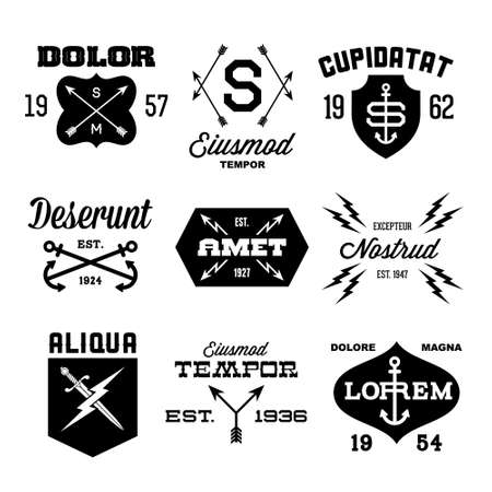 tattoo: vintage labels with arrow, shield, lightning, anchor Illustration
