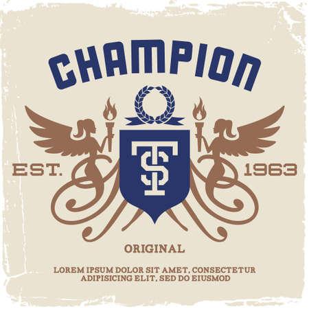 engel tattoo: Vintage-Label mit Engeln und Taschenlampe (T-Shirt-Druck) Illustration