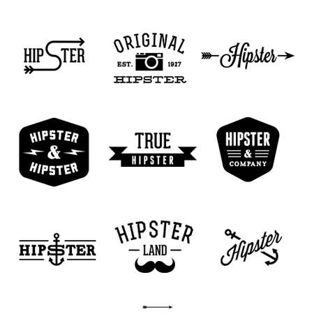 antique fashion: vintage hipster labels with anchor, arrow,