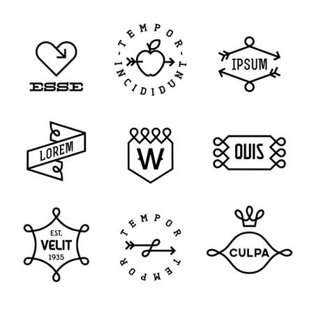 vintage labels met hart, pijl, appel Stock Illustratie