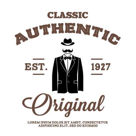 vintage label met hoed pak en strikje Stock Illustratie
