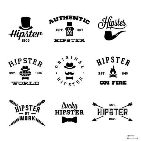 vintage hipster etiketten met hoed, pijp, brand
