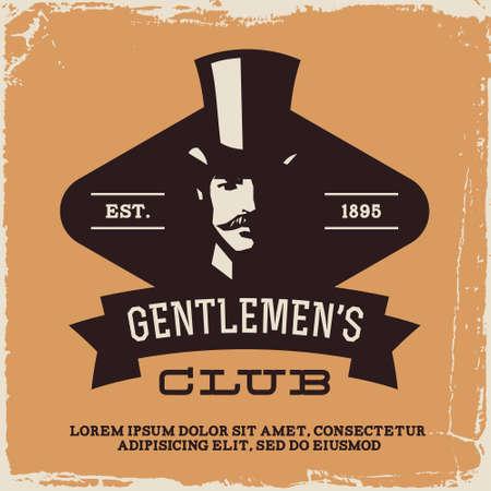 man with hat: vintage label with gentleman (T-Shirt Print) Illustration