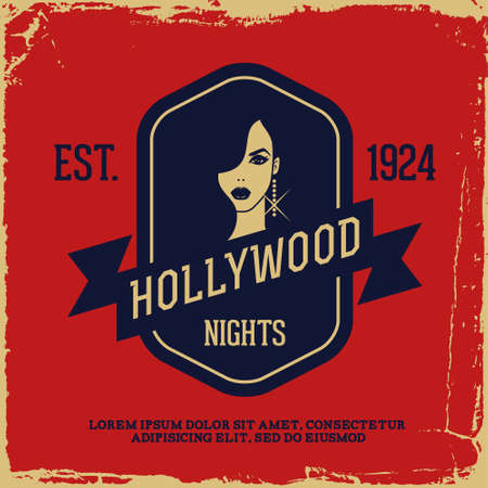 vintage label with lady (T-Shirt Print) Vector