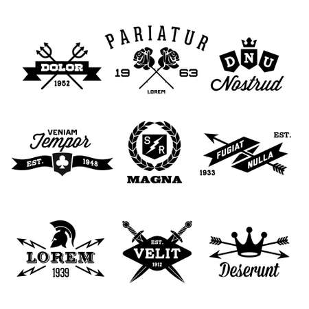 trident: vintage labels with shield, crown, arrow, helmet