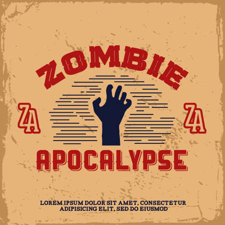 apocalypse: vintage label with zombie hand (T-Shirt Print)