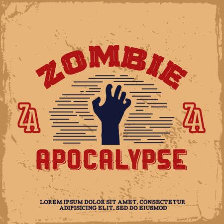apocalypse: vintage label with zombie hand (T-Shirt Print)