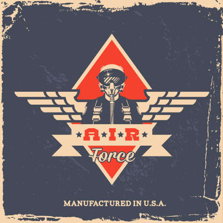 pilot wings: vintage air force label with pilot (T-Shirt Print) Illustration